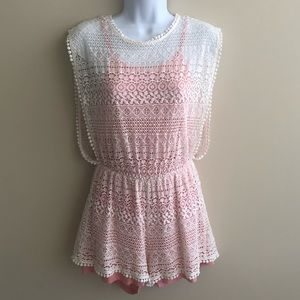 Pants - Lace Romper with Coral Lining